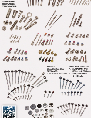 Screws, Bolts, Washers, Machining Parts, Stamping Parts, Casting, EPDM Washer, Dome Washer, Bonded Washer