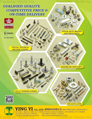 Special Tapping & Machine Screws, Special Nuts, Washer and Press Parts, Assembling Sems Parts, Multi-Forming Screws, CNC Auto Lathe