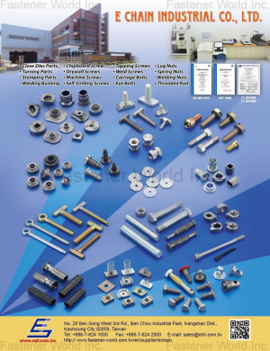 Close Dies Parts, Chipboard Screws, Tapping Screws, Lug Nuts, Turning Parts, Drywall Screws, Weld Screws, Spring Nuts, Stamping Parts, Machine Screws, Carriage Bolts, Welding Nuts, Welding Bushing, Self-Driling Screws, Eye Bolts, Threaded Rod