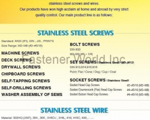 Socket and Hex Screw / Tapping Screw / Stainless Steel Wire(RODEX FASTENERS CORP.)