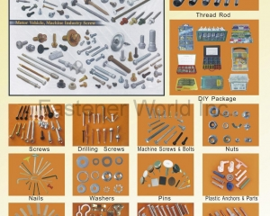 Thread Rod, DIY Package, Drilling Screw, Machine Screw & Bolts, Nuts, Nails, Washers, Pins, Plastic Anchors & Parts, Wood Dowels, Hooks & Eyes, Furniture Fasteners(MASTER UNITED CORP. )