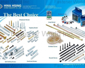 Chipboard Screw, Self Drilling Screw, Tapping Screw, Confirmat Screw, Collated Screws(HWA HSING SCREW INDUSTRY CO., LTD. )