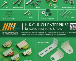 SST Hhead Tapping Screw, Bi-Metal Hex Washer Head Self Drilling Screw, Titanium Alloy Screw, T Bolt, Security Screws, Bits, Stainless Steel Nuts, Zinc Yellow Nuts, Micor Screw & Nut, Pins, Washer with EPDM, Nails, Wheels for construction, L type Bracket(H.K.C. RICH ENTERPRISE)