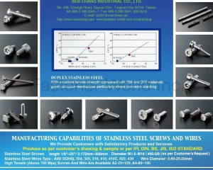 Stainless Steel Nails, Screw with Combo Drive, Drywall Screws, Rivets, Self Drilling Screws, Chipboard Screws, Head Painted Screws, Wood Screws, Coarse Thread Screws, Socket Set Screws, machine Screws, Polymate Screws, Security Drive Screws, Sems with Different Type of Washer, Self Tapping Screws, Coating Screws, Plating Screws, High Tensile Screws, Socket Head Cap Screws, Cutting Screws(SEN CHANG INDUSTRIAL CO., LTD. )