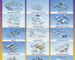Wood Screw, Roofing Screw, Painting Screw, Sems Screw, Back Panel Screw, Furniture Screw, Special Screw, Thumb Screw, Wheel Bolt & Nut, Rivets, Blind Rivet, Aluminum Posts, Plastic Anchor, Drop In Anchor, Sleeve Anchor, Cap Nut, Wing Nut, Stamping Nut(MASTER UNITED CORP. )